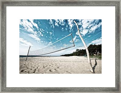 Framed Print featuring the photograph Beach Volleyball Net by Yew Kwang