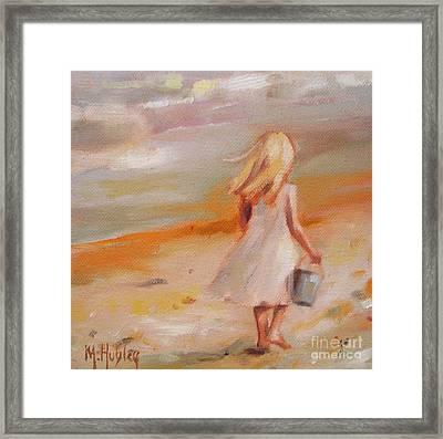 Beach Walk Girl Framed Print by Mary Hubley