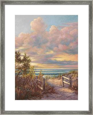 Beach Walk Framed Print by Lucie Bilodeau