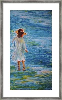 Framed Print featuring the painting Beach Walker by John Scates