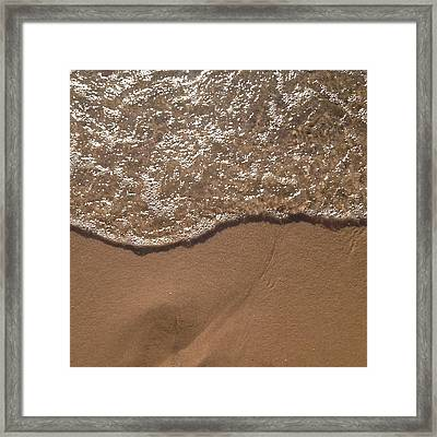 Beach Where The Water Meets The Sand Framed Print by Christy Beckwith
