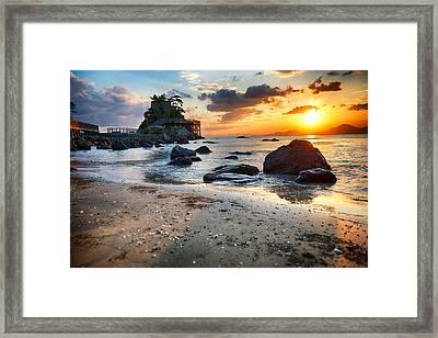 Beach With Rocks Framed Print by Keith Homan