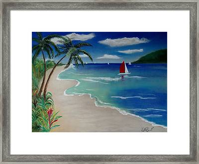 Beach With Sailboat Framed Print