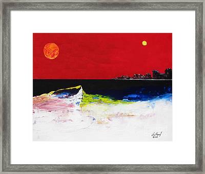 Beach With Sun And Moon Framed Print