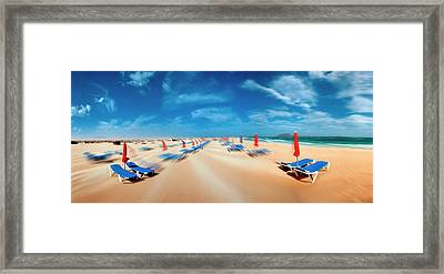 Beach With Sunloungers Framed Print