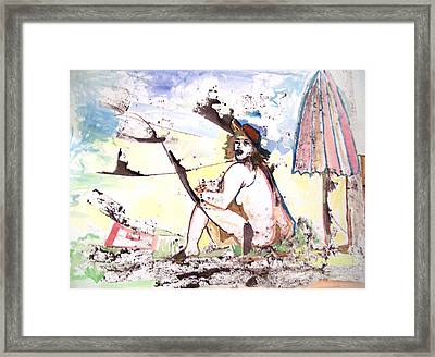 Woman On The Beach With  Umbrella Framed Print