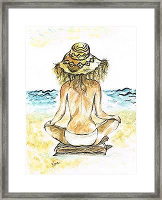 Beach- Yoga Framed Print by Teresa White