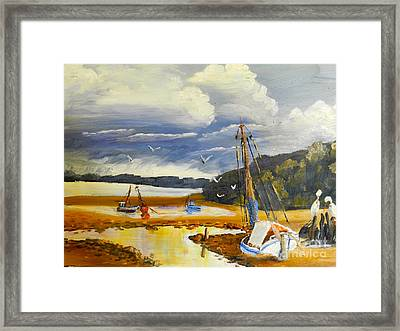 Beached Boat And Fishing Boat At Gippsland Lake Framed Print by Pamela  Meredith
