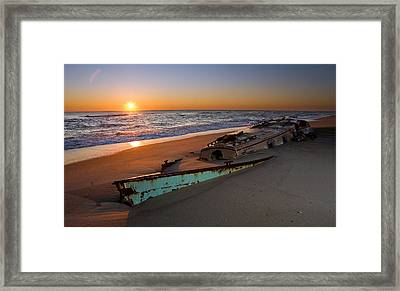 Beached Boat At Sunrise I - Outer Banks Framed Print by Dan Carmichael