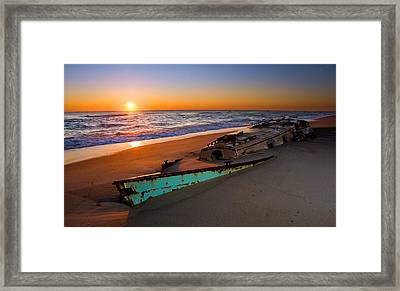 Beached Boat At Sunrise II - Outer Banks Framed Print by Dan Carmichael