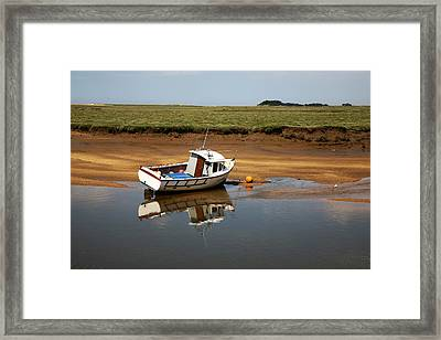 Beached Boat In River Estuary Framed Print