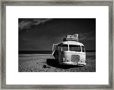 Beached Bus Framed Print by Yvette Depaepe