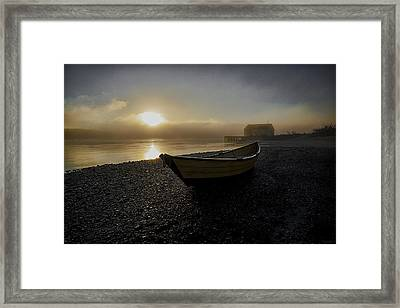 Beached Dory In Lifting Fog  Framed Print by Marty Saccone