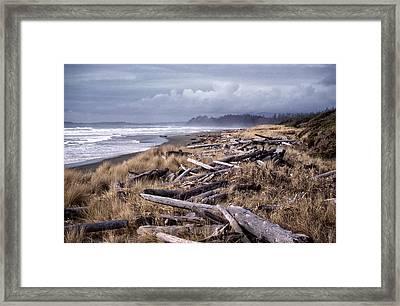 Framed Print featuring the photograph Beached Driftlogs by Richard Farrington