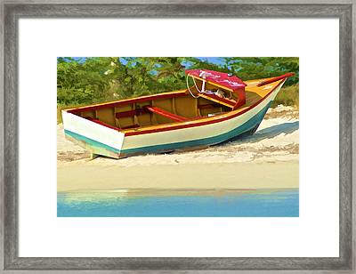 Beached Fishing Boat Of The Caribbean Framed Print