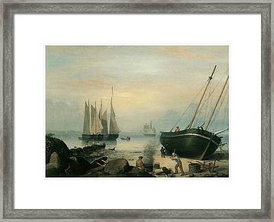 Beached For Repairs Duncan's Point Gloucester Framed Print by Fitz Hugh Lane
