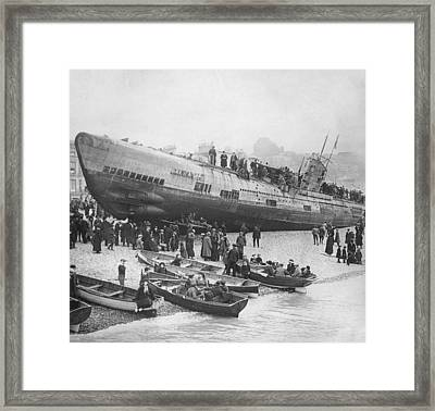 Beached German Submarine Framed Print by Ny State Military Museum