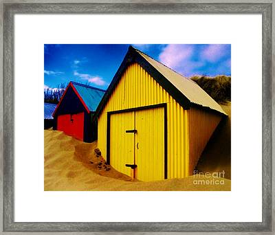 Beached Hut Framed Print