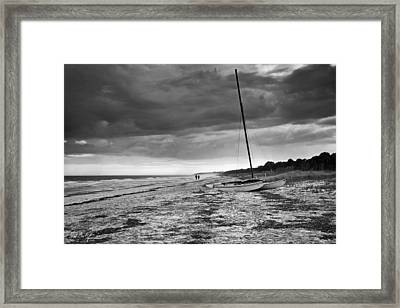 Beached In Black And White Framed Print