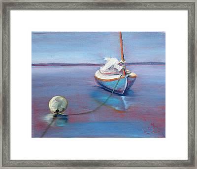 Beached Sailboat At Mooring Framed Print