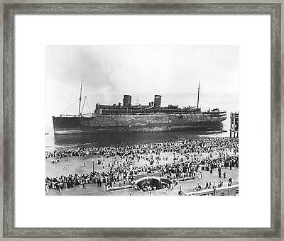 Beached Ss Morro Castle Framed Print by Underwood Archives