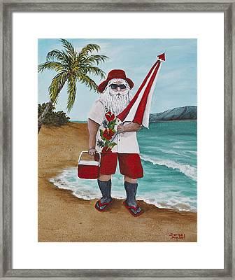 Beachen Santa Framed Print by Darice Machel McGuire