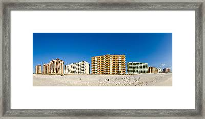 Beachfront Buildings On Gulf Of Mexico Framed Print