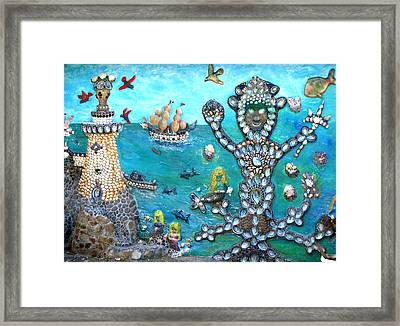 Beachside Mural Framed Print