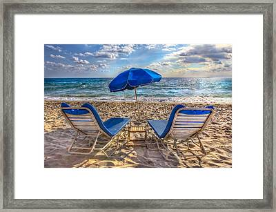 Beachtime Blues Framed Print by Debra and Dave Vanderlaan