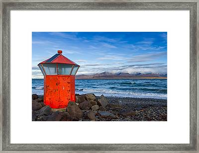 Beacon At Hvaleyrarviti In Iceland Framed Print