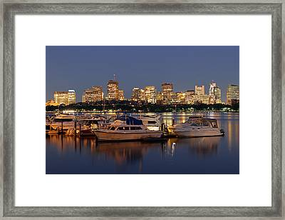 Beacon Hill And Charles River Yacht Club Framed Print