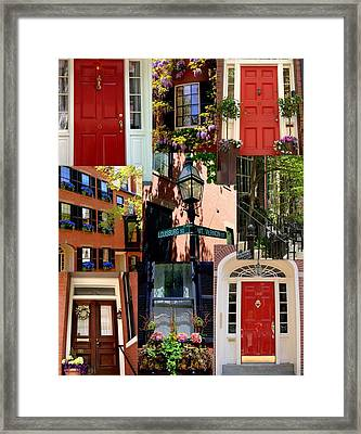 Beacon Hill  Windows Doors And More Framed Print by Caroline Stella