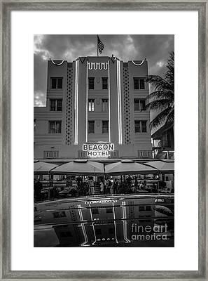 Beacon Hotel Art Deco District Sobe Miami - Black And White Framed Print
