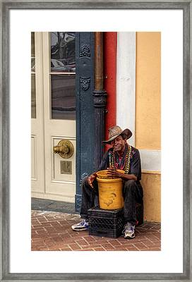 Beads And Bucket In New Orleans Framed Print