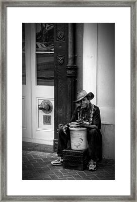 Beads And Bucket In New Orleans In Black And White Framed Print