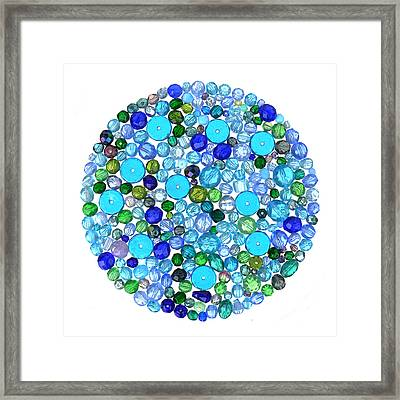 Beads In Blues Framed Print by Jim Hughes