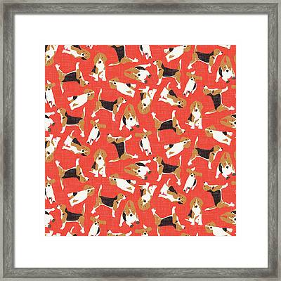 Beagle Scatter Coral Red Framed Print by Sharon Turner
