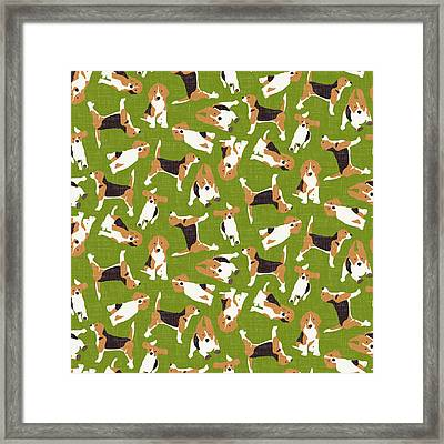 Beagle Scatter Green Framed Print by Sharon Turner