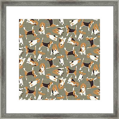 Beagle Scatter Stone Framed Print by Sharon Turner