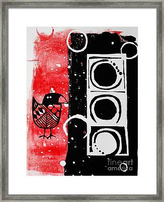 Beak In Red And Black Framed Print