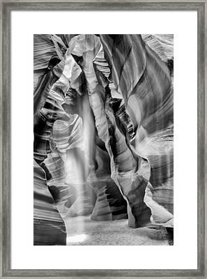 Beam Of Light In Upper Antelope Canyon In Black And White Framed Print
