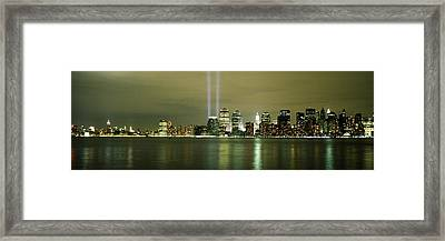 Beams Of Light, New York, New York Framed Print by Panoramic Images