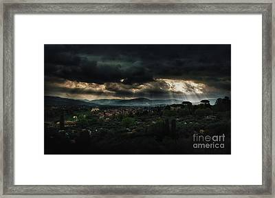 Beams Of Light Over Florence Framed Print by Jaroslaw Blaminsky