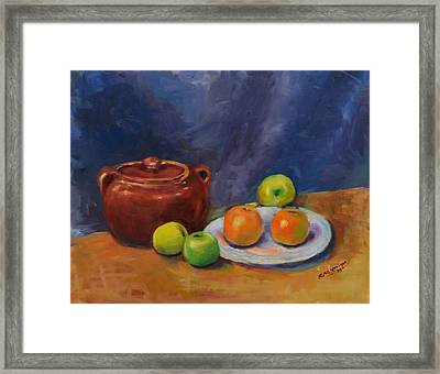 Bean Pot And Fruit Framed Print by Susie Jernigan