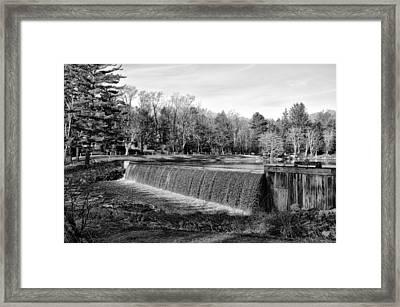 Bear Creek Lake Dam In Black And White Framed Print