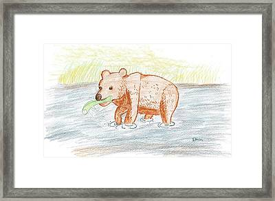 Bear Fishing Framed Print by Ethan Chaupiz