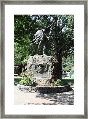 Bear Flag Statue At Sonoma Plaza In Downtown Sonoma California 5d24433 Framed Print by Wingsdomain Art and Photography