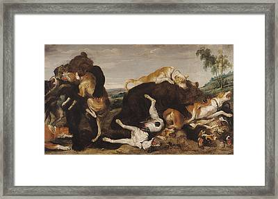 Bear Hunt Or, Battle Between Dogs And Bears Oil On Canvas Framed Print