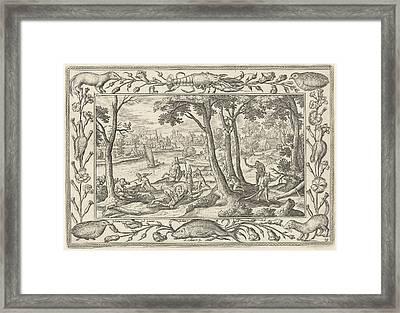 Bear Hunting, Adriaen Collaert, Eduwart Hoes Winckel Framed Print by Adriaen Collaert And Eduwart Hoes Winckel