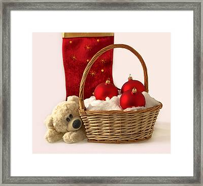 Bear Is Near Wicker With Christmas Balls  Framed Print by Sviatlana Kandybovich